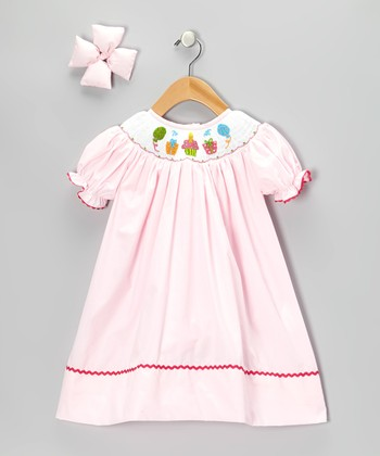 Light Pink Dress & Bow Clip - Toddler & Girls