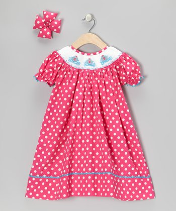 Pink Carriage Dress & Bow Clip - Infant