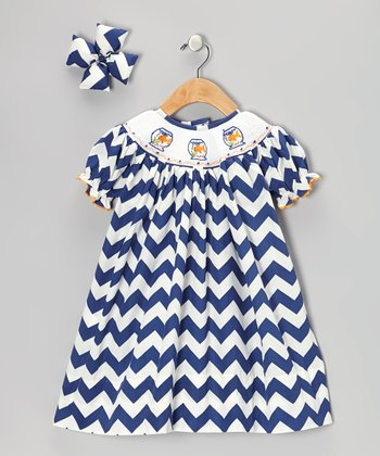 Navy Goldfish Dress & Bow Clip - Infant & Girls