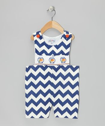 Navy Zigzag Fish John Johns - Infant