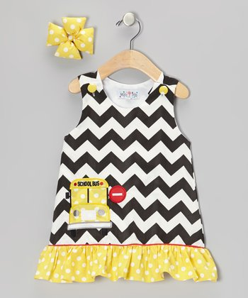 Black & Yellow School Bus Jumper & Bow Clip - Infant & Toddler