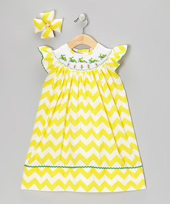 Yellow Grasshopper Dress & Bow Clip - Infant