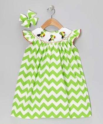 Green Toucan Dress & Bow Clip - Infant, Toddler & Girls