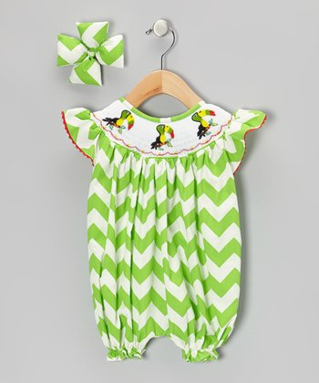 Green Toucan Bubble Romper & Bow Clip - Infant