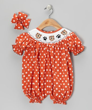 Orange Kitty Bubble Romper & Bow Clip - Infant
