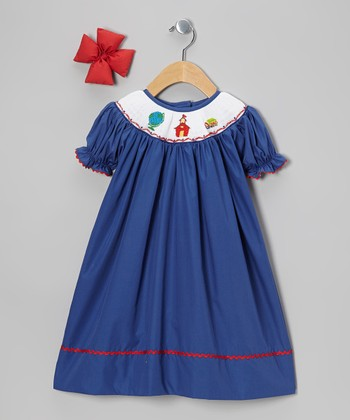 Blue School Bishop Dress & Red Bow Clip - Girls
