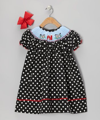 Black Cow Bishop Dress & Bow Clip - Girls