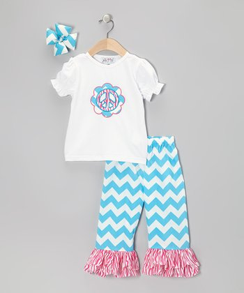 White & Blue Zigzag Ruffle Pants Set - Infant, Toddler & Girls