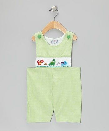 Green Gingham Dinosaur John Johns - Infant & Toddler