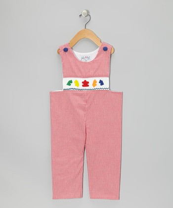 Red Gingham Puzzle Overalls - Infant & Toddler