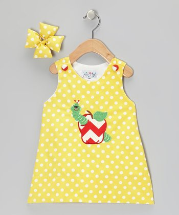 Yellow Worm Jumper & Bow Clip - Infant, Toddler & Girls
