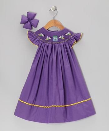 Purple Firefly Dress & Bow Clip - Infant & Toddler