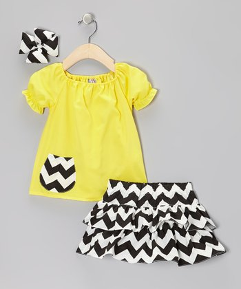 Yellow & Black Zigzag Ruffle Skirt Set - Infant, Toddler & Girls