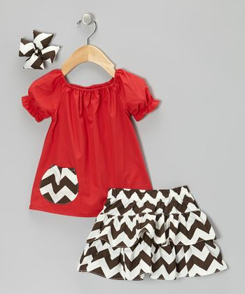 Red & Brown Zigzag Ruffle Skirt Set - Infant, Toddler & Girls