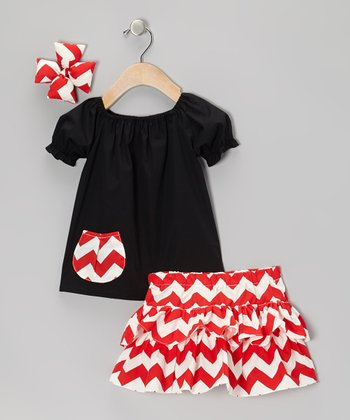 Black & Red Chevron Ruffle Skirt Set - Infant, Toddler & Girls