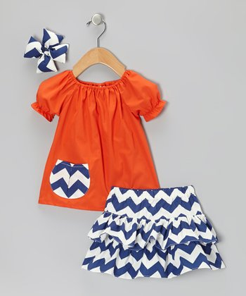 Orange & Navy Zigzag Ruffle Skirt Set - Infant