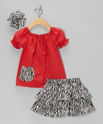 Red Zebra Zigzag Ruffle Skirt Set - Infant, Toddler & Girls
