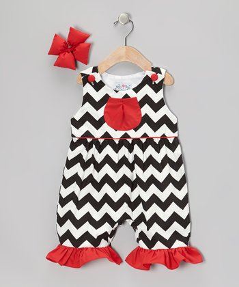 Black Chevron Ruffle Romper & Bow Clip - Infant, Toddler & Girls