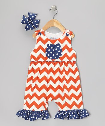 Orange Zigzag Ruffle Romper & Bow Clip - Toddler & Girls