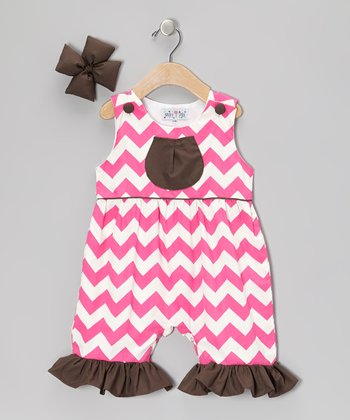 Pink Chevron Ruffle Romper & Bow Clip - Infant, Toddler & Girls