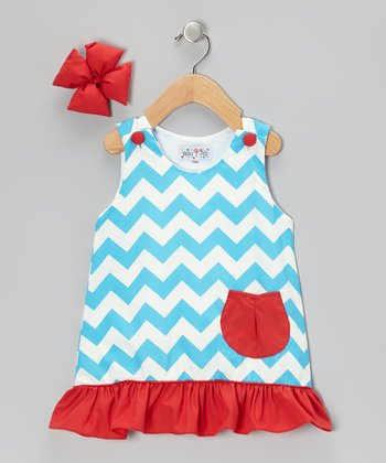 Turquoise Chevron Jumper & Bow Clip - Infant, Toddler & Girls