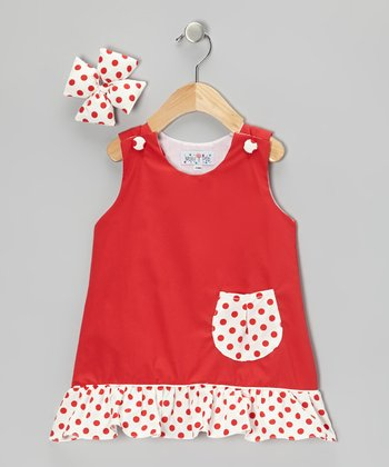 Red Polka Dot Jumper & Bow Clip - Infant, Toddler & Girls