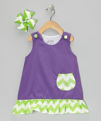 Purple & Lime Chevron Jumper & Bow Clip - Infant, Toddler & Girls