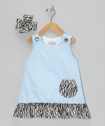 Light Blue Zebra Jumper & Bow Clip - Infant, Toddler & Girls