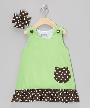 Green & Brown Jumper & Bow Clip - Infant, Toddler & Girls