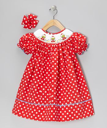 Red Bubble Gum Dress & Bow Clip - Infant & Girls