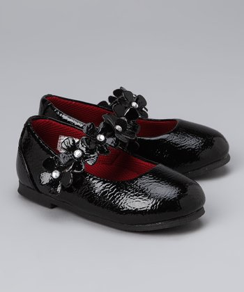 Black Patent Leather Flower Flat