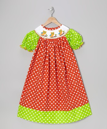Orange Owl Bishop Dress - Infant, Toddler & Girls
