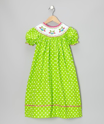 Lime Owl Polka Dot Bishop Dress - Infant, Toddler & Girls