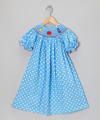 Blue School Bishop Dress - Girls