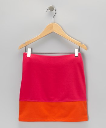 Pink & Orange Pencil Skirt