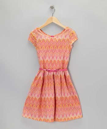 Pink Ikat Bow Dress