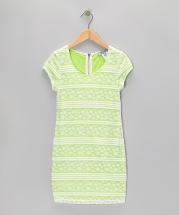 Green Polka Dot Stripe Dress