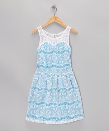 Blue & White Lace Dress