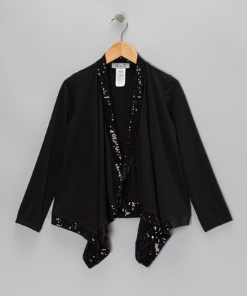 Black Sequin Asymmetrical Cardigan