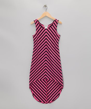 Black & Pink Sparkle Stripe Hi-Low Dress