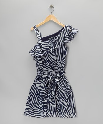 Blue & White Zebra Ruffle Dress
