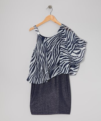 Blue & White Zebra Asymmetrical Dress