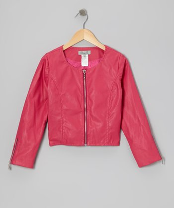 Pink Faux Leather Jacket