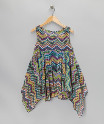 Rainbow Zigzag Sidetail Dress
