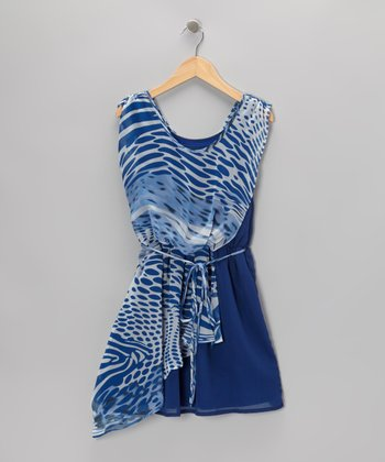 Blue & White Swish Dress