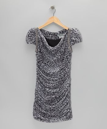 Gray & White Leopard Ruched Dress