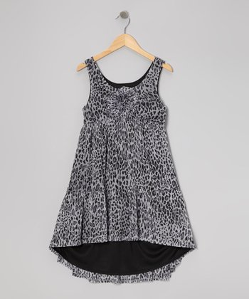 Gray & White Leopard Hi-Low Dress