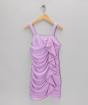 Lavender Shimmer Ruffle Dress