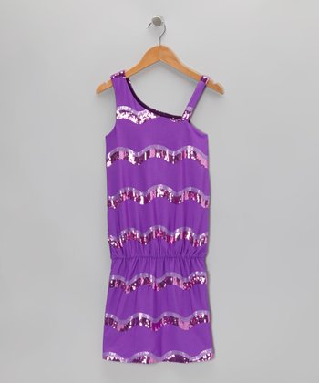 Purple Sequin Wave Stripe Dress