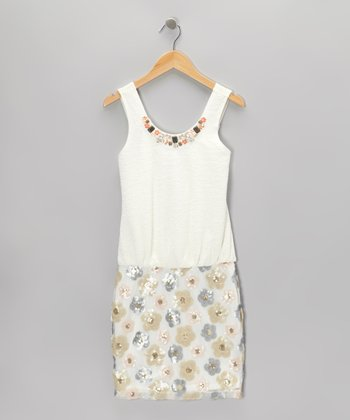 White & Cream Daisy Shimmer Dress